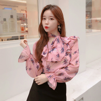 Spring women's new ruffled bow tie long-sleeved shirt Korean version of the loose temperament floral chiffon shirt tide