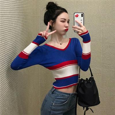 针织衫女长袖秋新款韩版学生百搭短款拼色修身显瘦套头打底衫上衣