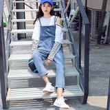 2018夏季韩版新款牛仔裤吊带裤女学院风百搭背带九分裤显瘦小脚裤