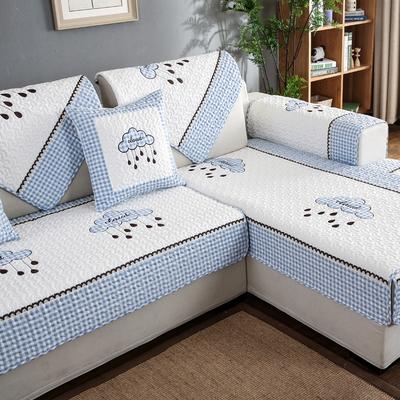 简约现代客厅组合实木真皮沙发垫布艺全棉四季通用防滑沙发套罩巾实体店