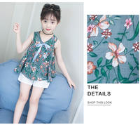 Girls cotton linen trousers suit summer 2019 new Korean children's printing two-piece girl girl floral princess dress