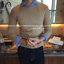 韩国韩版圆领套头毛衣长袖打底纯色修身针织衫男英伦青年日系复古