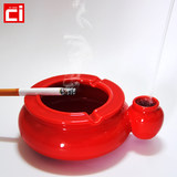 Ceramic red ashtray color glaze multi - colored ribbon installed water smoke area living room simple Chinese style windproof fashion multi - function