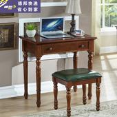美式桦木书桌全实木小书桌简约家用学生卧室小户型学习桌办公桌