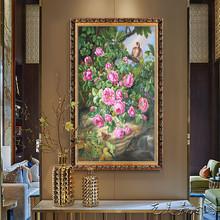 油画花卉纯手工绘动物古典欧式玄关风景定制大幅装饰挂壁画竖定制