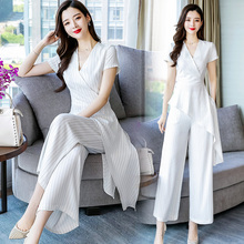 Summer suit temperament, short sleeve, simple striped white trousers, two irregular blouses for women in 2019