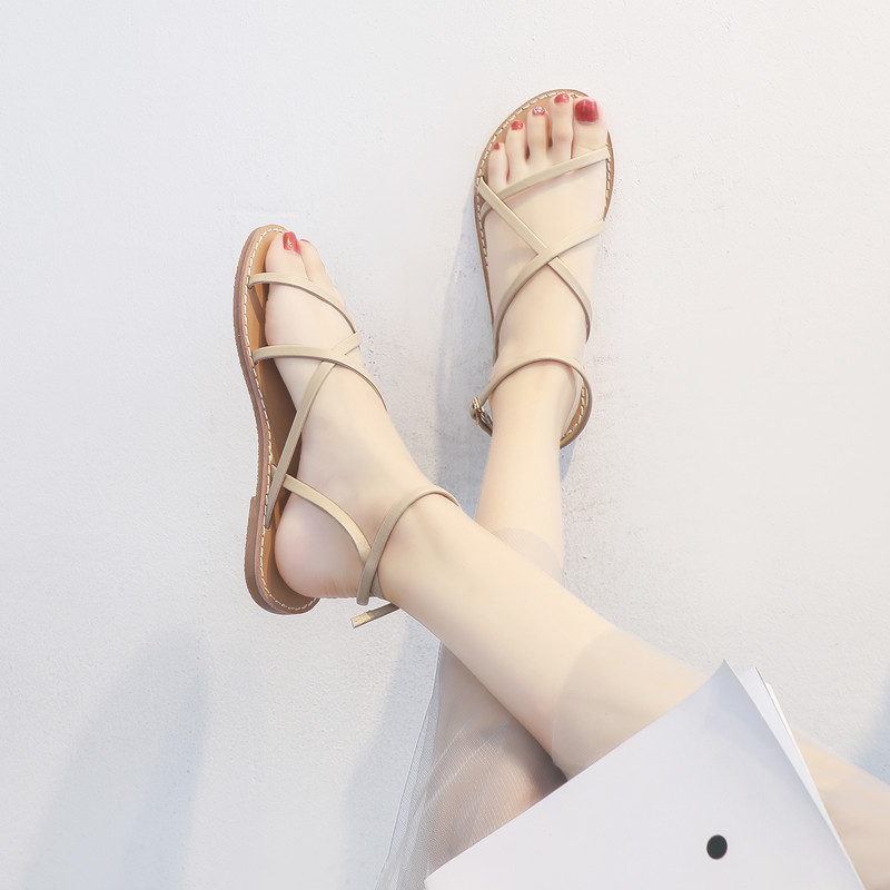凉鞋女平底学生简约2019年夏季新款百搭温柔仙女风配裙晚晚罗马鞋