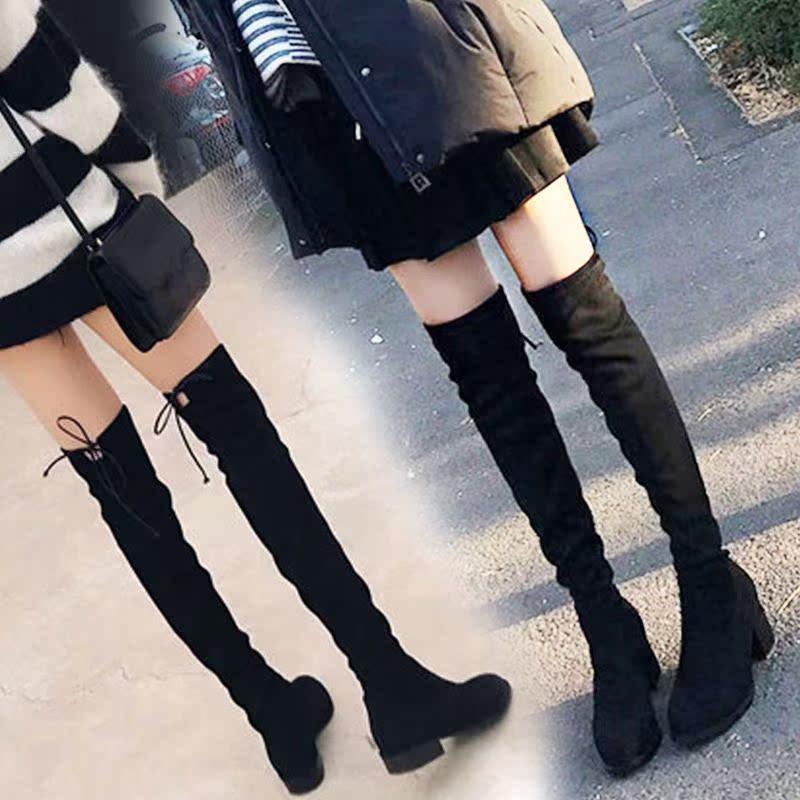 洛百丽专柜正品网红潮鞋sw过膝长靴女秋冬平底高跟靴子长筒靴小辣