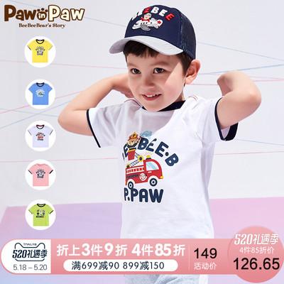 Pawinpaw卡通小熊童装2019年新款夏季男童短袖T恤圆领撞色拼接袖