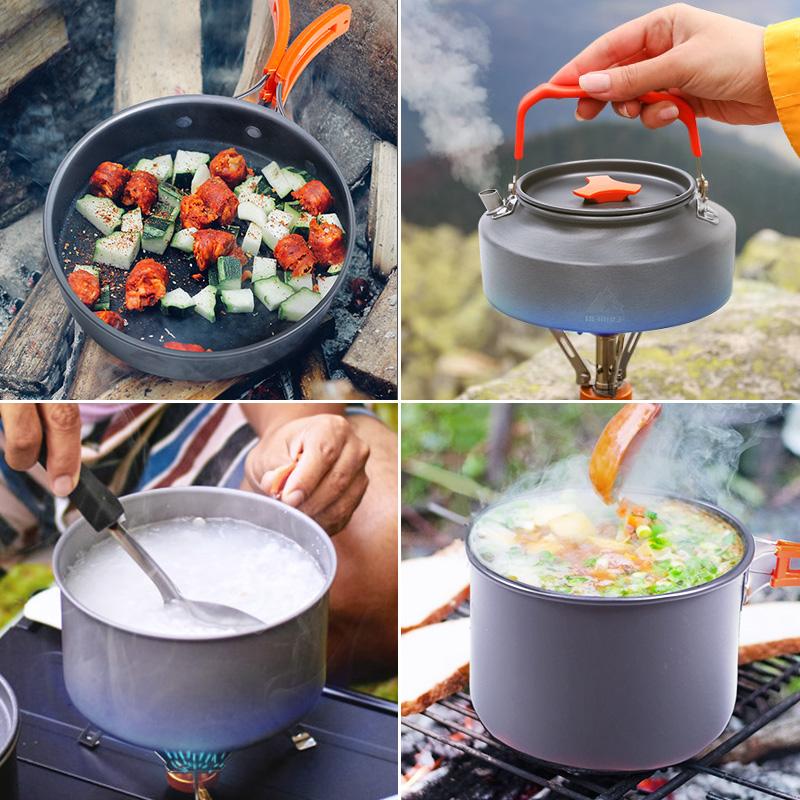 户外野炊便携锅具套装野营装备露营用品野外炊具折叠套锅餐具水壶