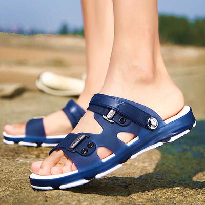 夏季男士凉鞋2018新款防滑拖鞋室外塑胶耐磨凉拖两用洞洞沙滩鞋潮