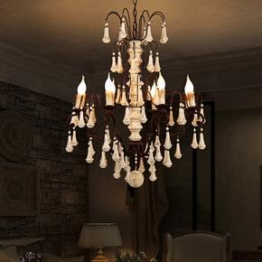 法式实木吊灯创意个性美式复古网吧服装店特色灯饰具led客厅吊灯