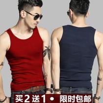 男士背心纯棉修身型运动跨栏健身打底汗衫夏季紧身弹力青年韩版潮