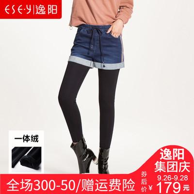 逸阳女裤2018春季新款外穿牛仔短裤女假两件加绒加厚保暖打底靴裤