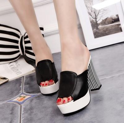 2018韩版女鞋试衣间鞋休闲鱼嘴拖鞋凉拖防水台粗跟超高跟鞋女凉