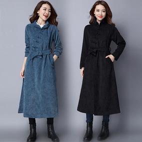 秋装新款风衣民族风文艺风女装宽松纯色灯芯绒腰带盘扣中长款外套