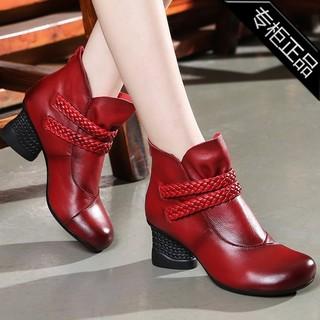 专柜品牌冬季民族风马丁靴粗跟短靴高跟女鞋短筒花朵圆头靴子