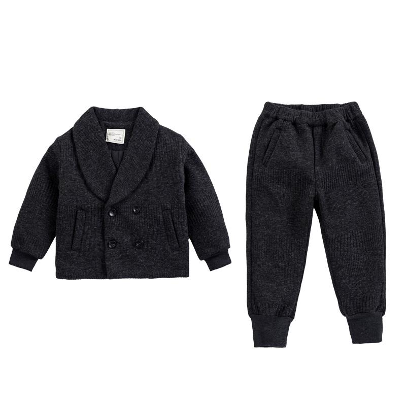 女童男童夹棉西装外套两件套装2018冬装儿童新款韩版加厚洋气童装