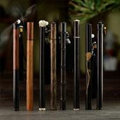 黑檀木香管香桶紫光檀长款装线香储香盒放香红木卧香筒带香插实木