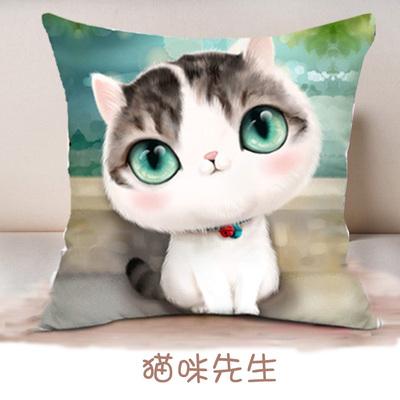 新款5d十字绣情侣抱枕一对可爱卡通动漫猫咪儿童汽车枕头客厅靠垫