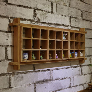 九间房免漆老榆木墙面置物架茶家具禅意多宝格墙上组合瓷器方格架