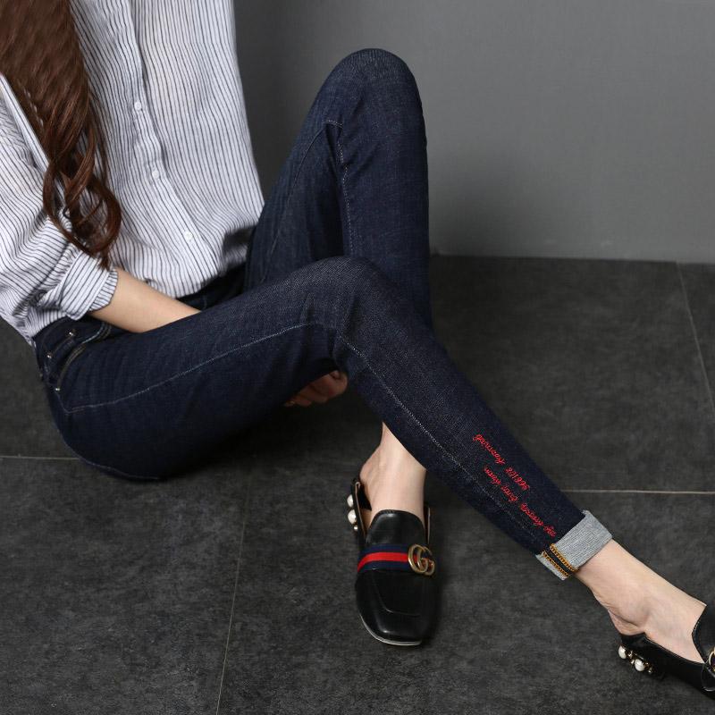黑色刺绣铅笔裤