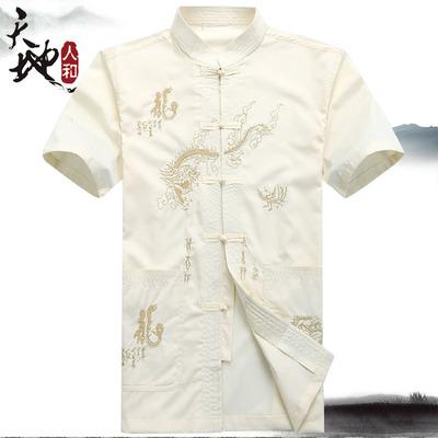 中老年唐装男夏短袖上衣中式中山装民族服装中国风衬衣爷爷装包邮