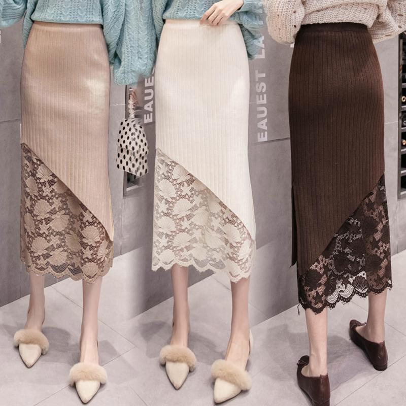 冬天条纹蕾丝拼接毛线过膝长裙女秋冬针织紧身中长款包臀群半身裙