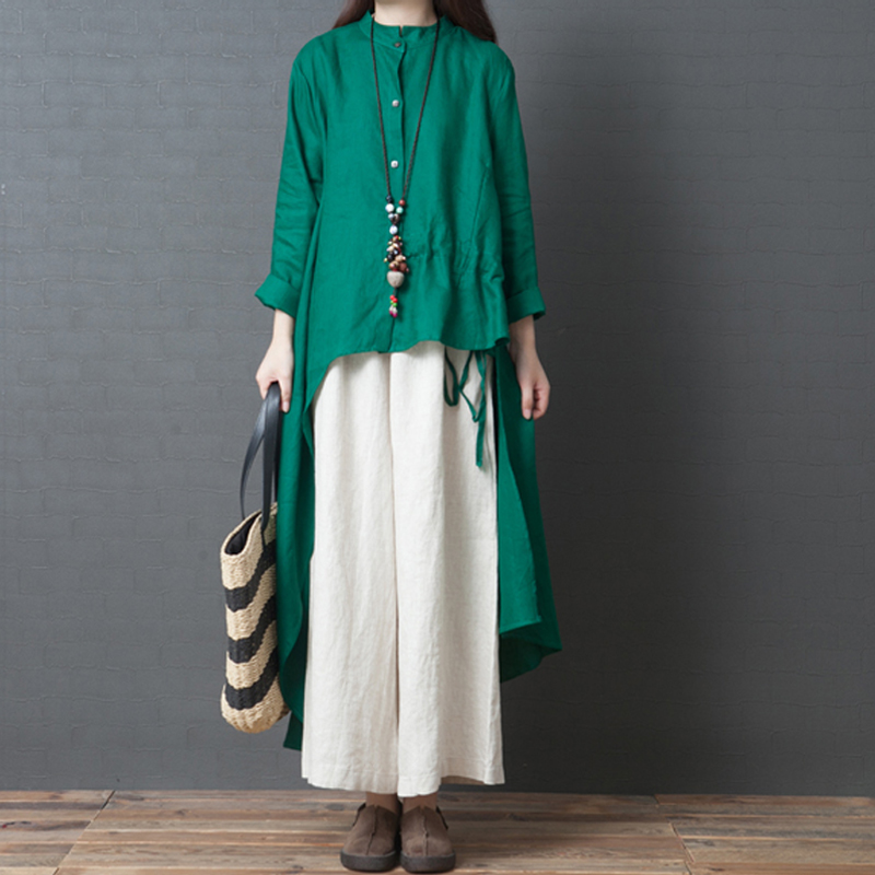 Autumn new loose large size women's cotton and linen fashion temperament solid color stitching thin national