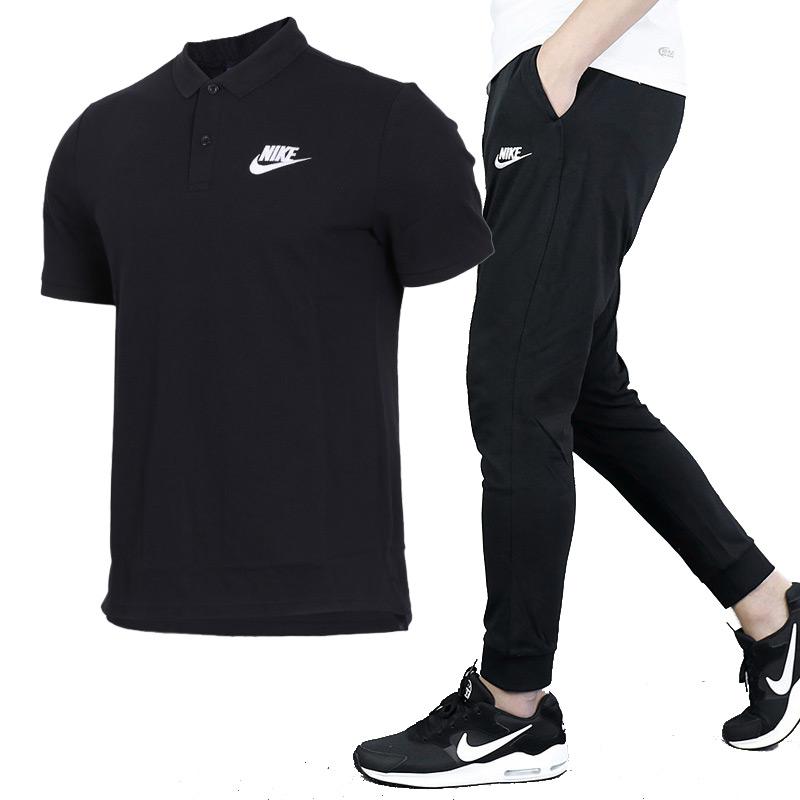 NIKE耐克套装男士2019夏季新款休闲装运动衣跑步短袖长裤运动服
