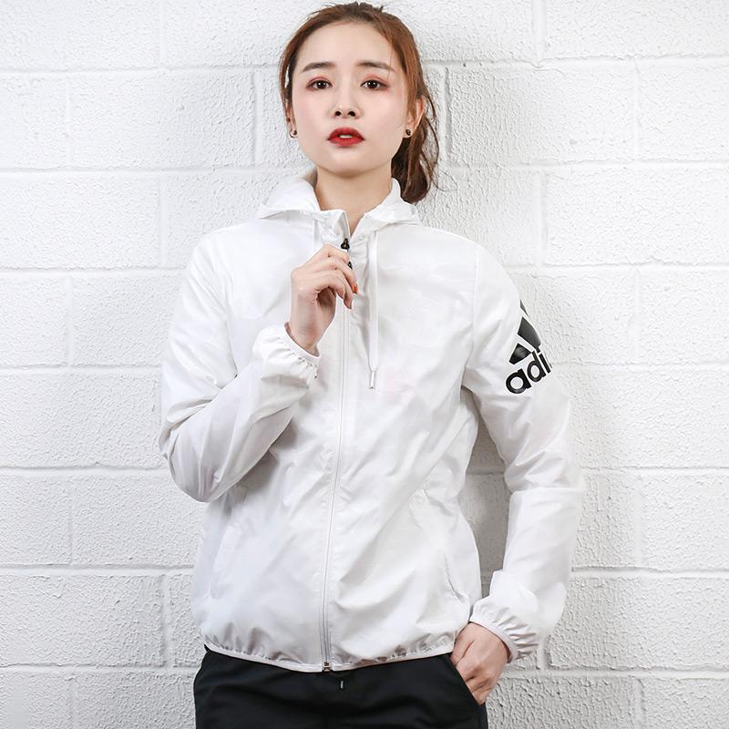 阿迪达斯女装2019夏季新款运动服梭织连帽防风夹克休闲外套DW4563