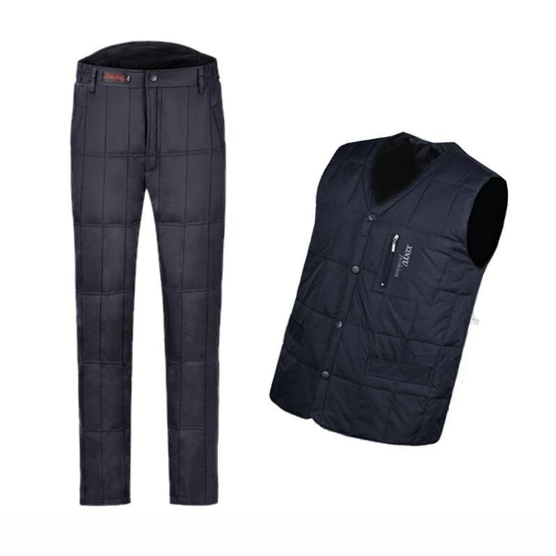 冬季中老年羽绒裤男女士内外穿高腰加厚大码保暖男式防风羽绒棉裤