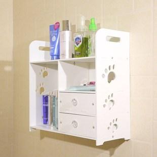 卫生间置物架壁挂墙上吸壁式浴室免打孔厕所防水化妆品收纳储物盒