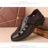 High-end quality men's sandals 2019 mid-summer men's leather breathable sandals in the elderly hole hole cold shoes