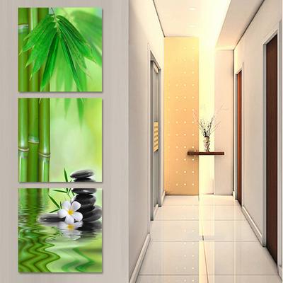 現代客廳裝飾畫玄關豎版無框畫過道壁畫走廊掛畫竹子花卉三聯墻畫品牌旗艦店