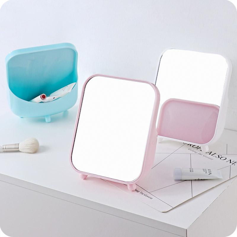 优思居梳妆台镜子女化妆镜圆形桌面台式小镜子学生宿舍便携公主镜