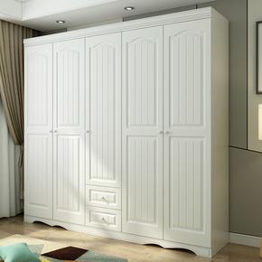欧式衣柜经济型简约现代三门四门柜子卧室五门白色实木质板式衣橱