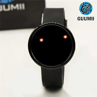新款概念创意百变触屏夜光纯黑色LED情侣充电无指针手表电子表哪里购买