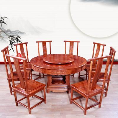 集美红红木家具刺猬紫檀木圆桌天龙八部实木中式一桌八椅组合餐桌官方旗舰店