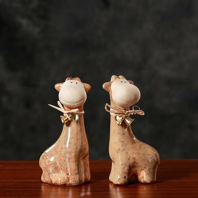 家居饰品陶瓷动物摆件装饰品工艺品鹿欧式美式乡村艺术品桌面