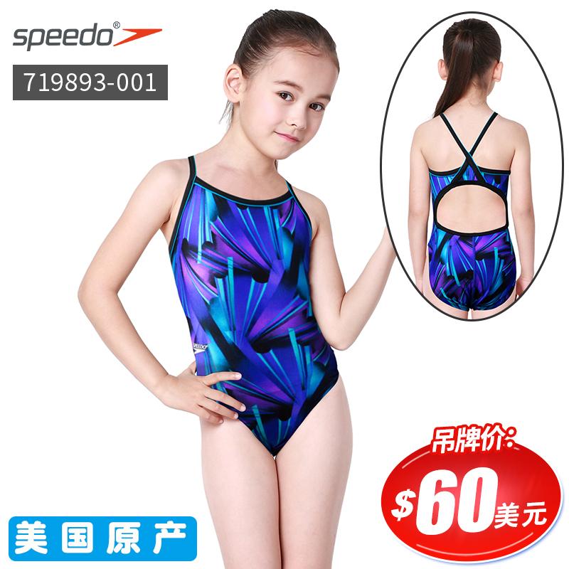 美国速比涛专柜正品speedo 女童女孩连体三角泳衣双层面料719005