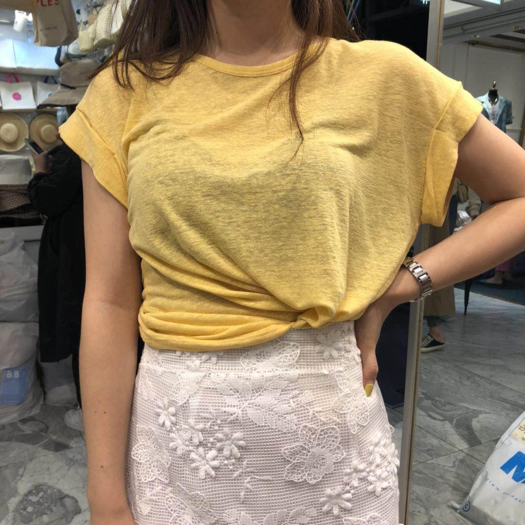 042511E355韩国东大门女装2019夏装新款圆领短袖T恤代购直播