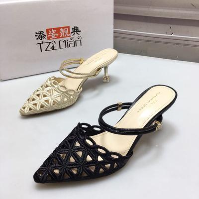 添姿靓典女鞋1802韩版女高跟猫跟凉鞋尖头细跟镂空百搭包头拖鞋女