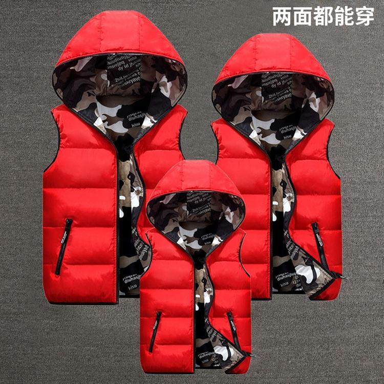 autumn winter new couple Down cotton vest double-sided wear parent-child children's hooded vest