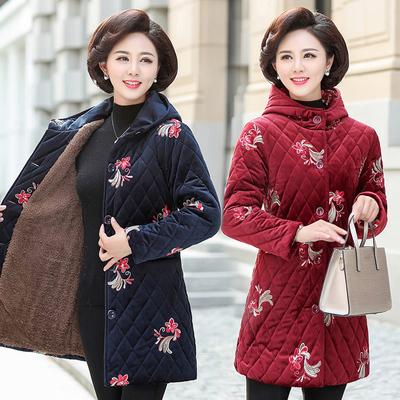妈妈冬装花棉袄外套中年女加绒加厚金丝绒棉衣中老年人棉服中长款