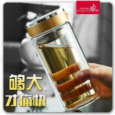 双层车载过滤印字礼品办公玻璃杯便携透明水杯防漏柠檬定制茶杯子