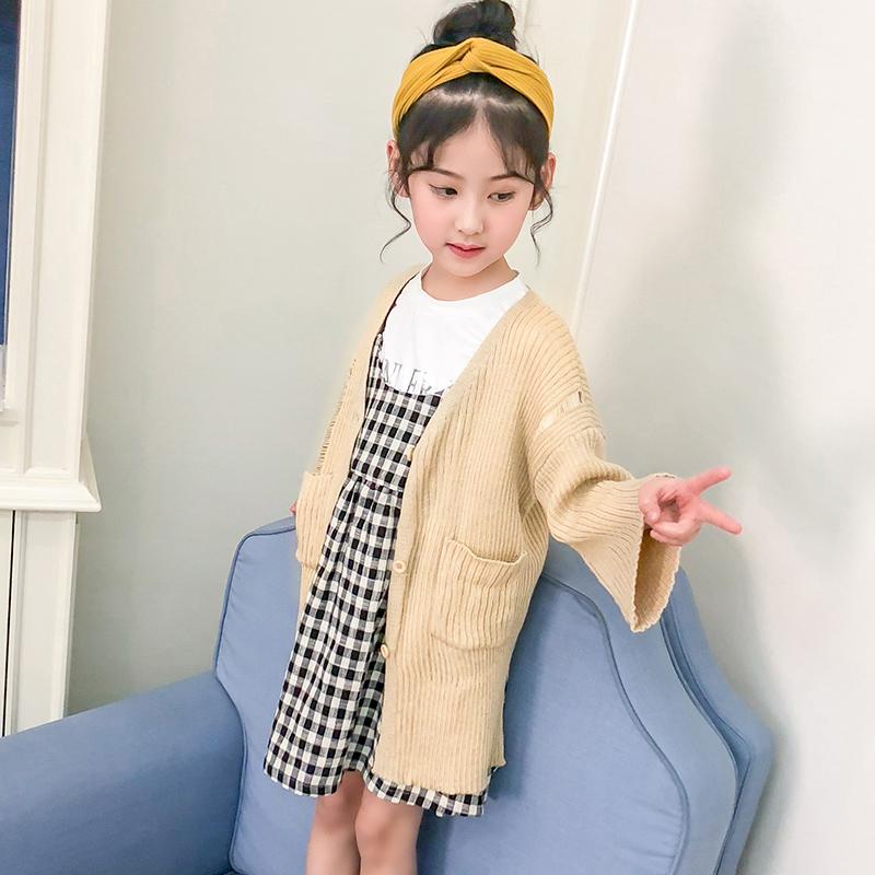 女童装针织开衫2018春秋新款韩版儿童中大童女宝宝蝙蝠袖毛衣外套