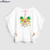 Spot NEXT girls cotton bikini outside cover 2019 summer white embroidered beach sunscreen blouse