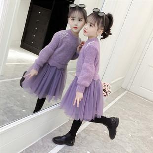女童连衣裙秋冬装加绒毛衣裙超洋气公主裙小女孩冬裙韩版儿童裙子