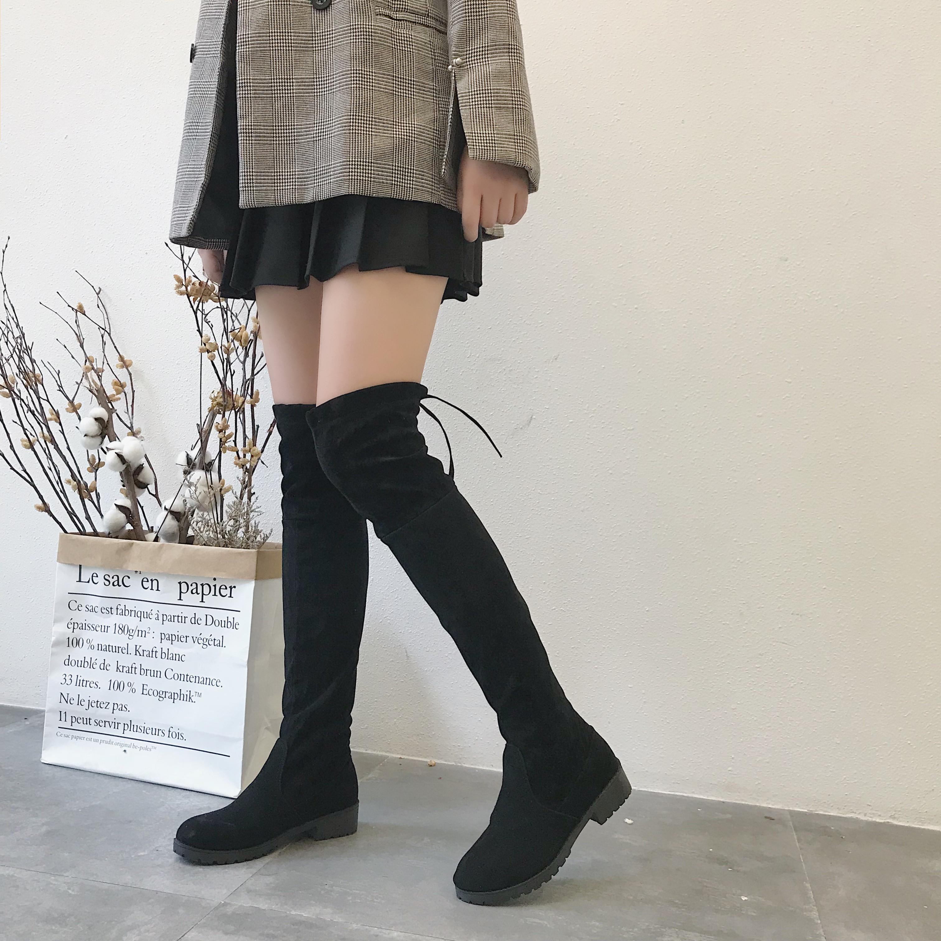 洛百丽官网正品春季过膝长靴女瘦腿中跟长筒弹力靴女2019春季新款